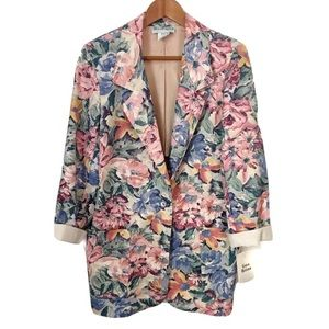 VINTAGE WILLOW RIDGE 80's 90's Floral Long Blazer